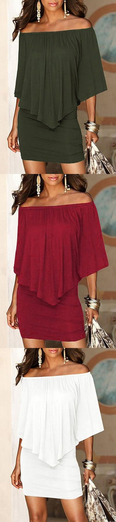 Off The Shoulder Ruffles Overlay Design Mini Dress