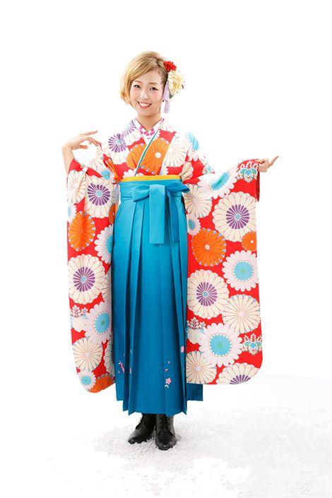 アンティーク復刻着物&袴レンタル【大輪花に桐花振袖 赤にオレンジ】 うたかた いちは
