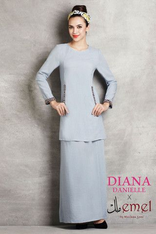 Soft Linen Kurung with Beaded Embellishments
