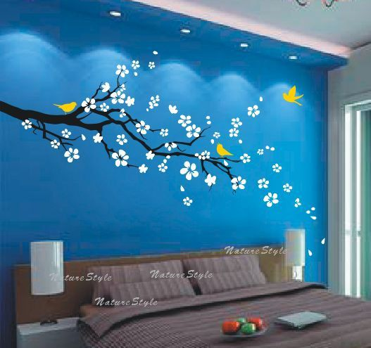 flowers wall decals cherry blossom vinyl wall decals girl nursery wall decals sticker children wall decal-plum blossom with Flying Birds