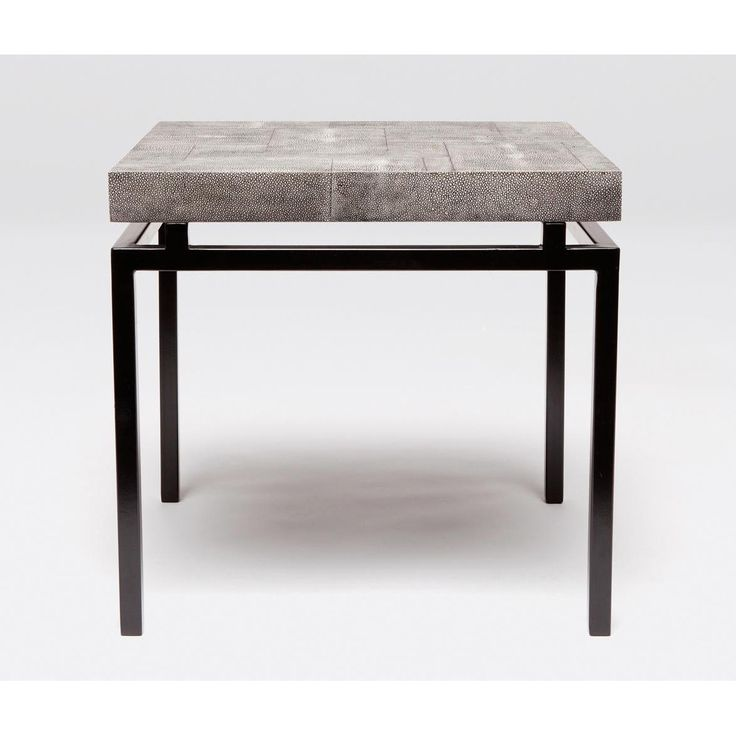 Benjamin Side Table, Faux Shagreen Top Floats Over A Black Lacquered Steel  Base Ivory, Cool Grey Or Turquoise Available