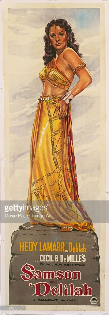 Actress Hedy Lamarr as Delilah, on a poster for the Paramount Pictures biblical film 'Samson and Delilah', directed by Cecil B. DeMille, 1949.
