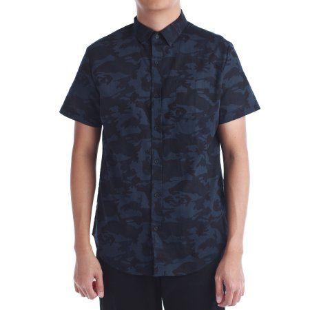 No Retreat Men's Camo Short Sleeve Button Front Shirt, Size: Large, Blue
