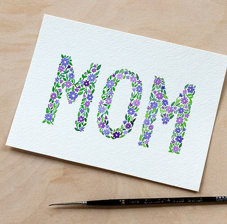 DIY Watercolor Mother's Day Card with Printable from Adventures in Making