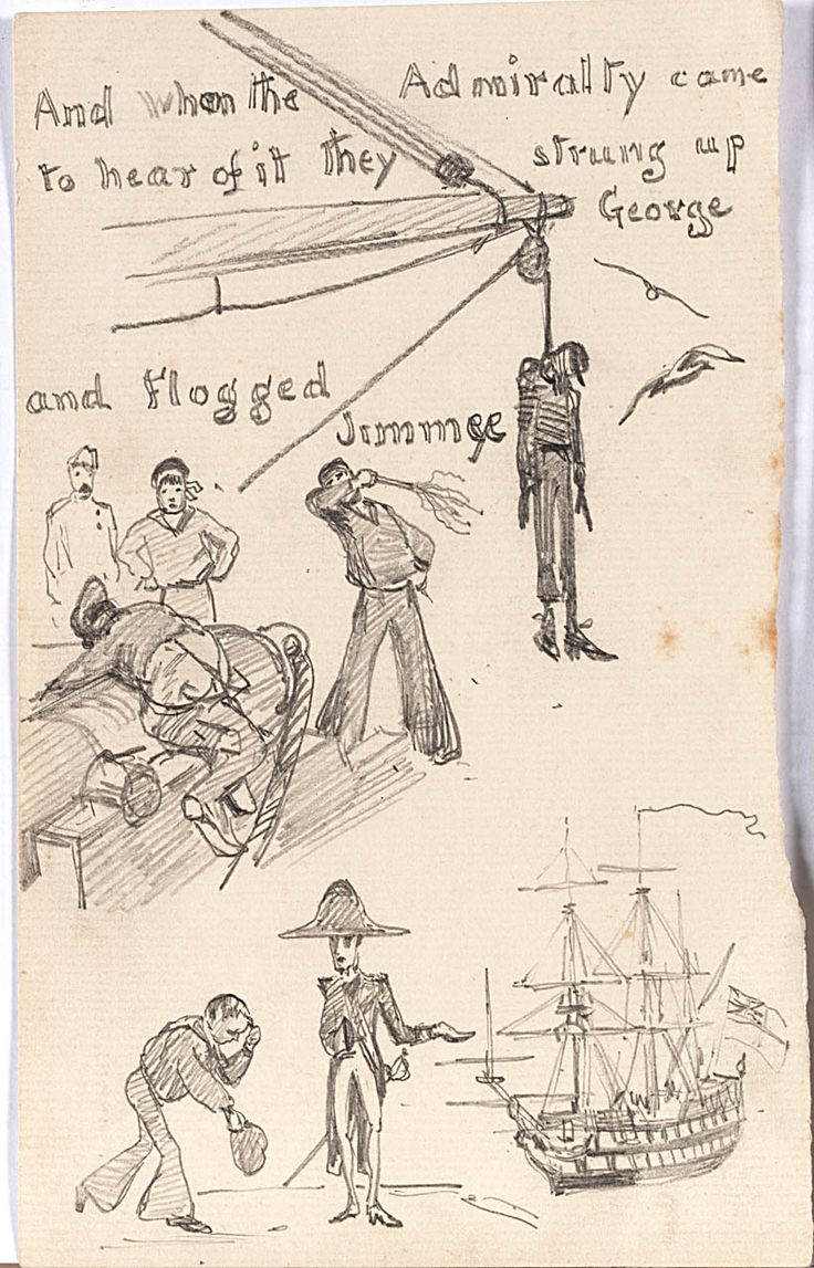 Three small drawings illustrating a cautionary tale about Three Sailors from Bristol. Sailor hanged from the yard arm, sailor being flogged and humble sailor with an admiral - William Lionel Wyllie - date unknown - National Maritime Museum, Greenwich, London, Caird Collection