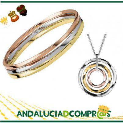 Esta Navidad regala Joyas y Acertarás!!  Esta preciosa pulsera y este colgante de acero tricolor rosa y amarillo lo podrás encontrar en; https://www.andaluciadecompras.es/portal/web/joyeria-nueva