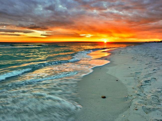 """Sunset With Sea Wave Tap To See More Breathtaking Beach: """"Orange Sunset Green Waves Beach Fine Art Prints"""" By Eszra"""