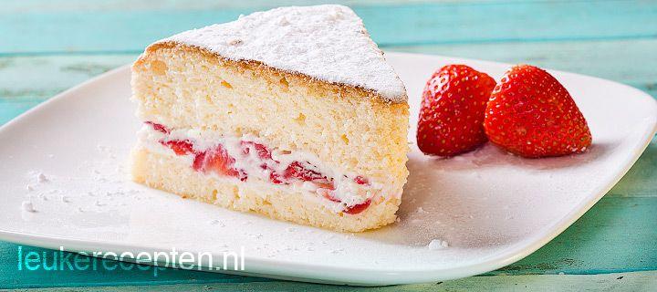 Recept - luchtige cake met aarbeien - met Zonnigfruit
