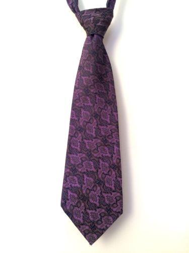 Vintage-Purple-Blue-Brown-Paisley-Keynote-Mens-Kipper-Tie-Terylene-WIDE