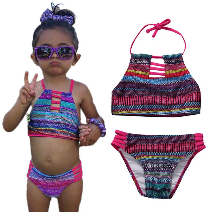 Kids Baby Girls Strip Bandage Rainbow Tankini Bikini Suit Swimsuit Swimwear Bathing Swimming Striped 2017 New