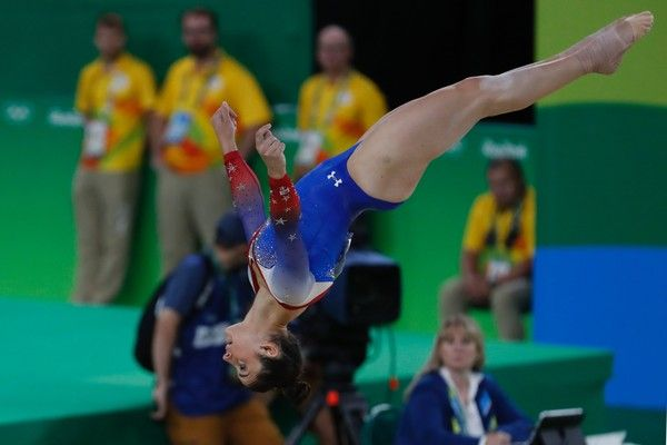 US gymnast Alexandra Raisman competes in the women's floor event final of the Artistic Gymnastics at the Olympic Arena during the Rio 2016 Olympic Games in Rio de Janeiro on August 16, 2016. / AFP / Thomas COEX