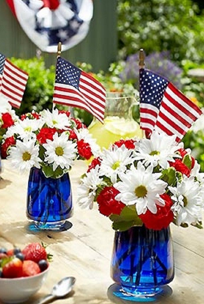 Patriotic Floral Arrangement For Memorial Day Fourth Of
