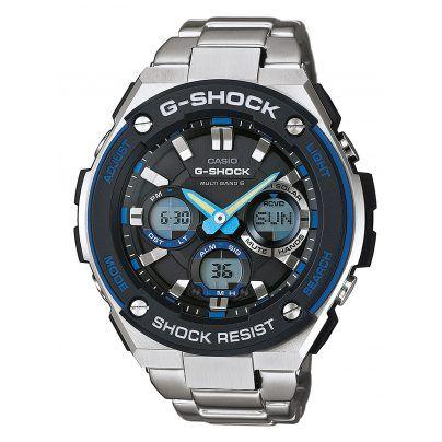 Casio G-Shock Herrenuhr mit sportlicher Note.  https://www.uhrcenter.de/uhren/casio/g-shock/casio-g-shock-solar-funkuhr-gst-w100d-1a2er/