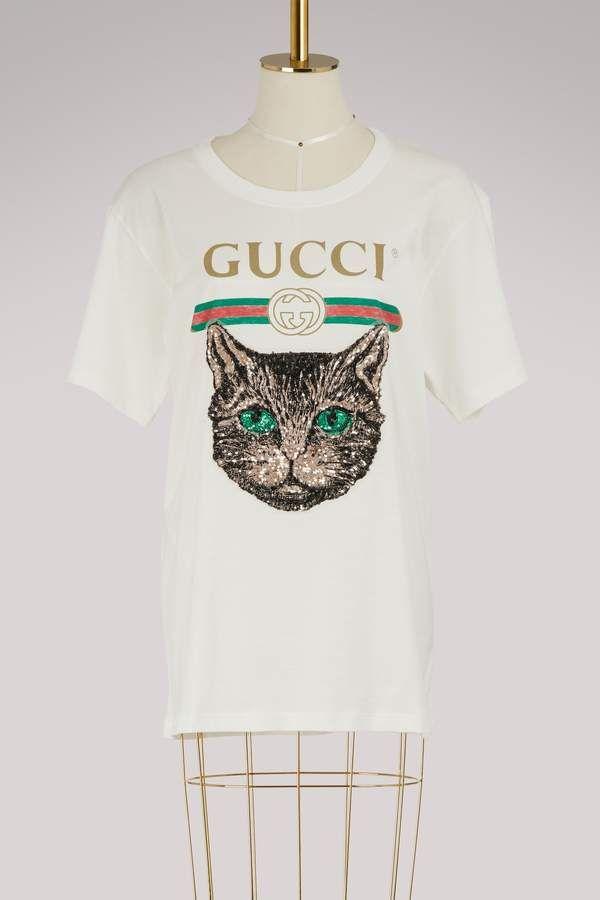 4b0eda3a9b0 Gucci logo T-shirt with Mystic Cat  tshirt  gucci