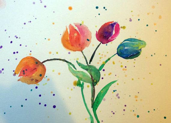 Watercolor Abstract Tulips by misspixie93 on Etsy