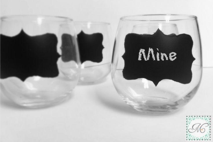 stemless chalkboard wine glasses {craft tutorial}