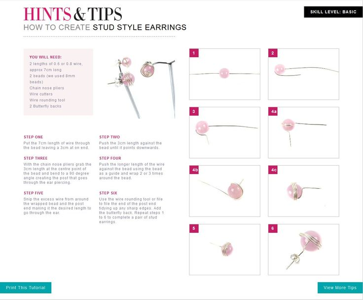 Free jewellery making tutorials - Stud Style Earrings.
