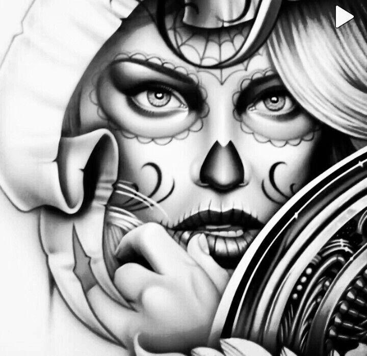 787 besten sugar skulls and day of the dead tattoos bilder. Black Bedroom Furniture Sets. Home Design Ideas