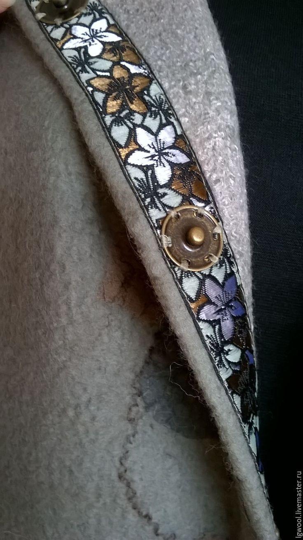 """Купить Валяный жилет-пальто """"Листья закружат"""" - оливковый, рисунок, цвет полыни, хаки, фисташковый"""