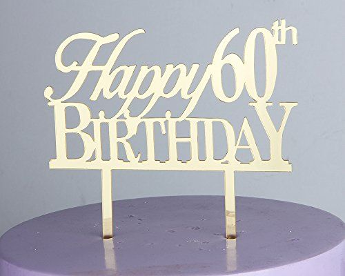 LOVELY BITON Gold Happy 60th Birthday Cake Topper Shining Numbers Letters for Wedding Birthday Anniversary Party *** Read more reviews of the product by visiting the link on the image.-It is an affiliate link to Amazon.