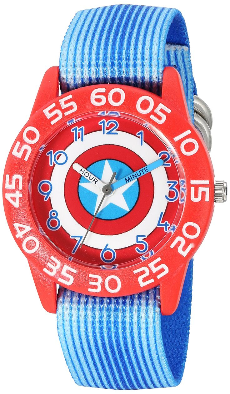 Marvel Boy's 'Captain America' Quartz Plastic and Nylon Automatic Watch, Color:Blue (Model: W003216). Meets or exceeds all US Government requirements and regulations for Kid's watches. 1 year limited manufacturer's warranty. Analog-quartz Movement. Case Diameter: 32mm. Water Resistant To 30m (100ft): In General, Withstands Splashes or Brief Immersion In Water, but not Suitable for Swimming or Bathing.