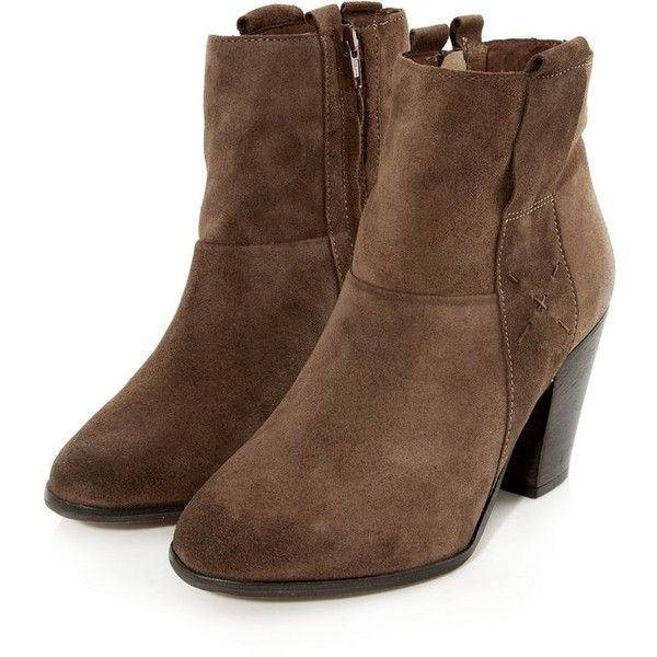 Tan Suede Side Zip Ankle Boots ($85) ❤ liked on Polyvore featuring shoes, boots, ankle booties, tan booties, suede booties, ankle boots, tan suede booties and short suede boots