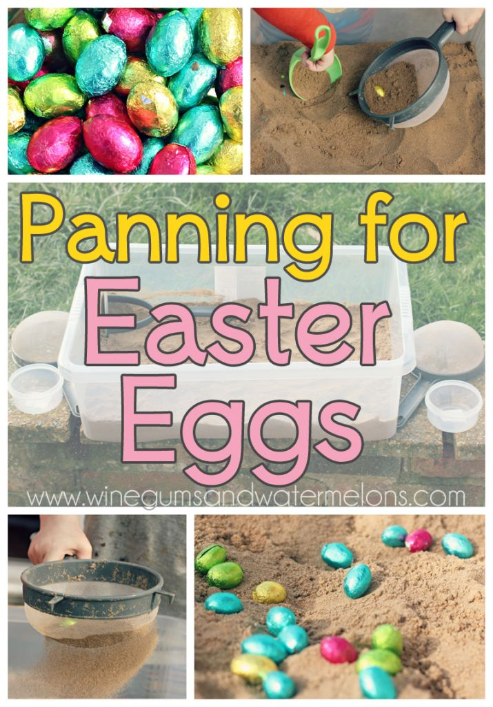 Panning for #easter eggs - an alternative Easter egg hunt #activity. Great for toddlers or if you don't have enough space for a traditional #Easteregghunt :)
