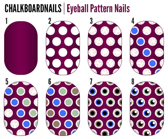 Chalkboard Nails: Eyeball Pattern Nails (+ Tutorial)