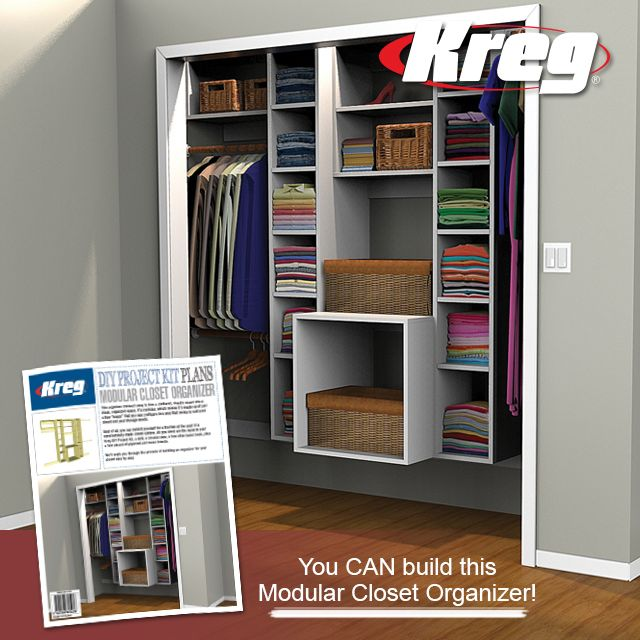 246 best kreg images on pinterest woodworking projects diy and turn a chaotic closet into an organized oasis you can easily build this modular closet woodworking shopwoodworking planswoodworking projectskreg solutioingenieria Choice Image