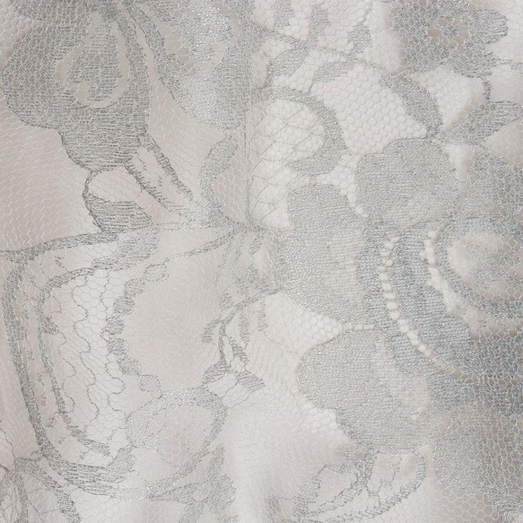 Designer Silver Metallic Chantilly Lace (£88.90/metre)   Joel & Son Fabrics