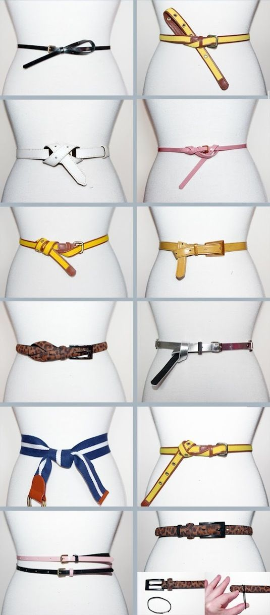 31 Clothing Tips Every Girl Should Know - 12 Ways to knot a belt!