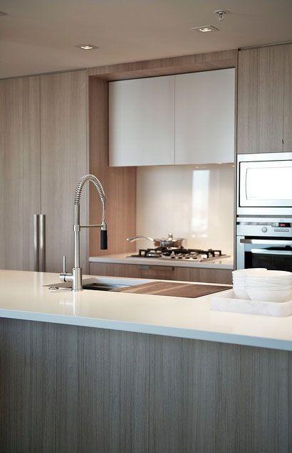Nice color palette. Sink in kitchen island