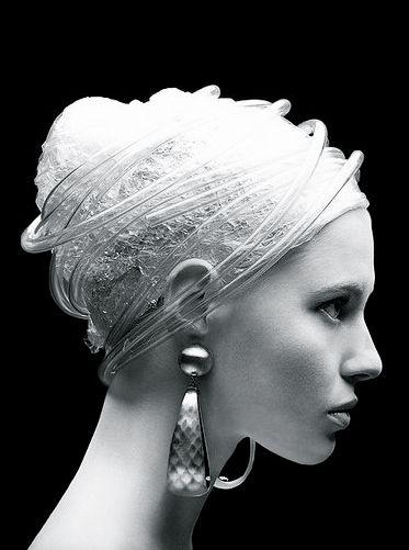 Dea: Design Milk, Head Wraps, Plastic Fantastic, Pearls Earrings, Dangle Earrings, Fashion Photography, Fashion Editorial, White Paintings, Woman Hats