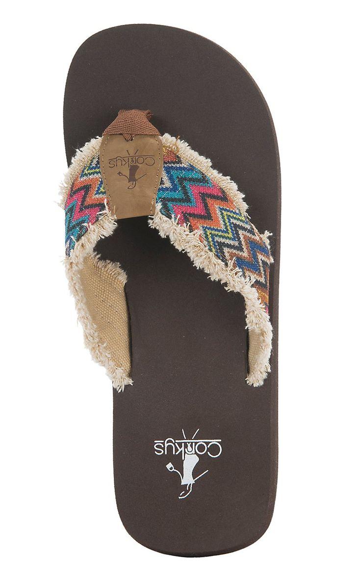 Corky's Star Women's Rainbow Chevron Canvas Flip Flops   Cavender's
