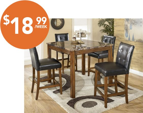 theo counter height dining table and 4 chairs. signature design by ashley theo 5 piece counter height dining table set, warm brown and 4 chairs