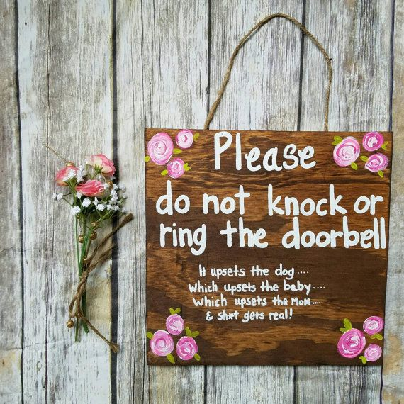 Do not knock sign Sleeping baby sign new mom gift baby shower gift No Solicitation Do not disturb Door Sign No Soliciting Sign by ThePeculiarPelican #etsyseller #etsyshop #woodensigns #customsigns #shopsmall #shopping #gifts #giftideas #porchsigns #weddingsigns #southernsigns #quotes #handmade #handpainted #signs http://ift.tt/2jLLY6l