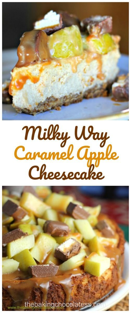 Welcome toMilky Way Caramel Apple Cheesecake land! This is one dilly of a twist oncaramelcheesecake thatis toppledwith lovely, gooey caramel, tart Granny Smith apples and rich Milk Way Caramel Apple Bars. The presentation isbeautiful with all thos