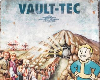 "First, I love this poster. Also, see that little symbol under ""Vault-Tec"". I want that somewhere in my person."