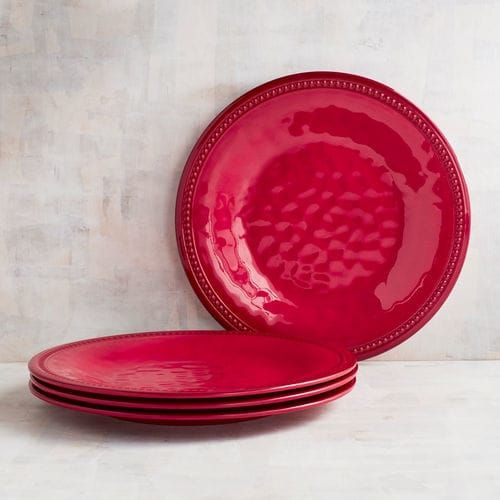 Beaded Red Melamine Dinner Plate Set of 4 | Pier 1 Imports