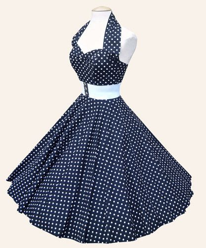 1950s pin up halter  I remember my mom had one like this, only it was red with white dots.  She wore red lipstick with it and had bright red fingernails and toenails.  I still remember that she looked amazing.
