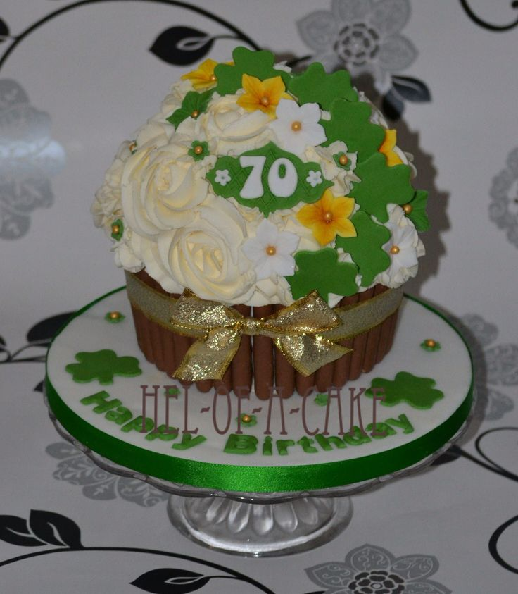 Giant cupcake for an Irish lady by www.facebook.com/hel-of-a-cake