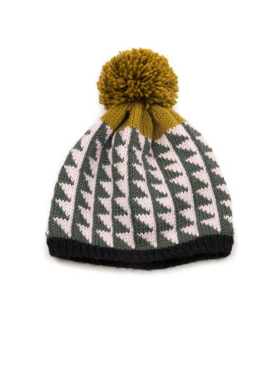 Patterned Pom Pom Beanie Bias Triangle Pattern 100% Peruvian Highland Wool Designed and hand knit by textile designer, Lauren Mayhew.