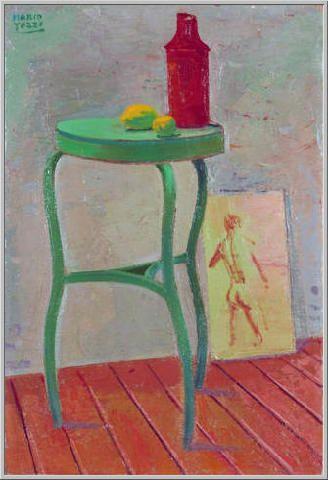 Mario Tozzi 1944: Nella Stanza del Pittore. Olio su Tela cm.42x28 Collezione…