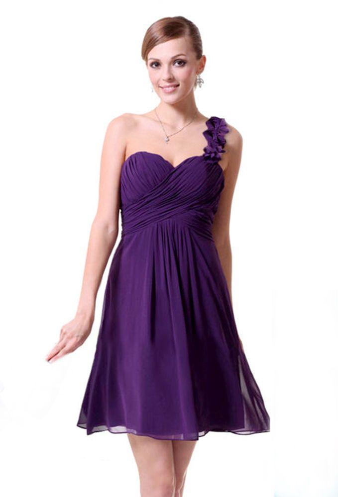 Bnwt Cadbury Purple Chiffon One Shoulder Prom Bridesmaid