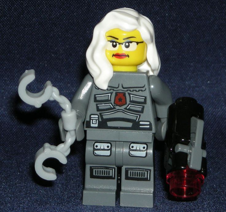 LEGO Space POLICE Woman MINIFIGURE Glasses/Handcuffs/White Hair/ Shooting Gun #LEGO