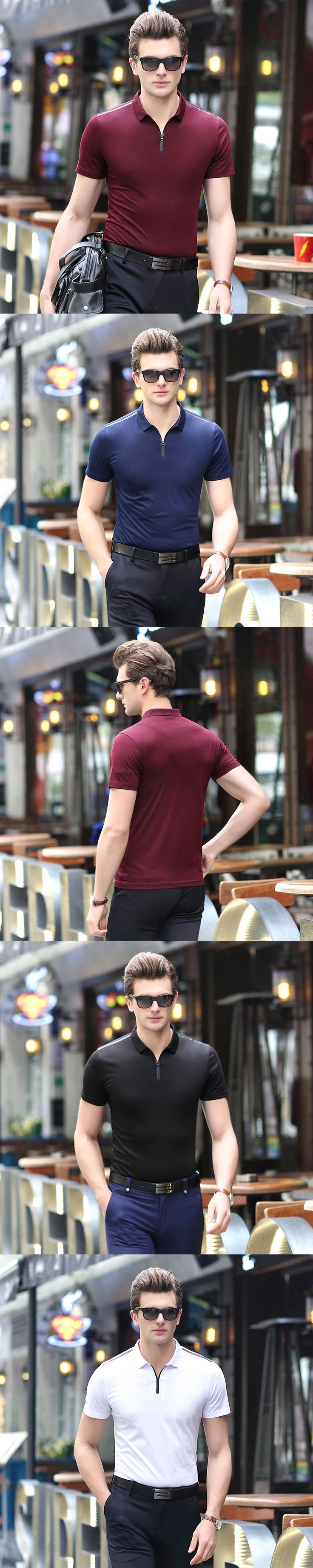Summer Mens Fashion Polo Shirts Male Plain  Polo homme Casual Short Sleeve Tops Special Zipper Collar Polos Clothing