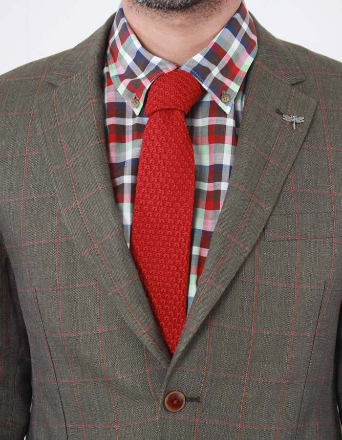 Gibson Red Knitted Tie | Accent Clothing