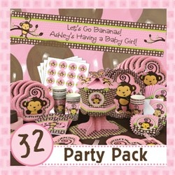 Monkey Girl Baby Shower Tableware And Supplies