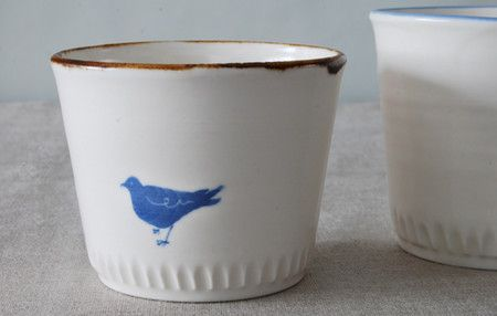 in love, blue bird japanese tea cups