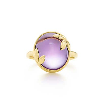 Paloma Picasso® Olive Leaf ring in 18k gold with an amethyst. | Tiffany & Co.
